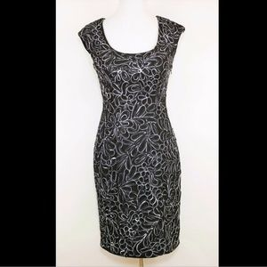 SUE WONG black & white floral embroidered dress